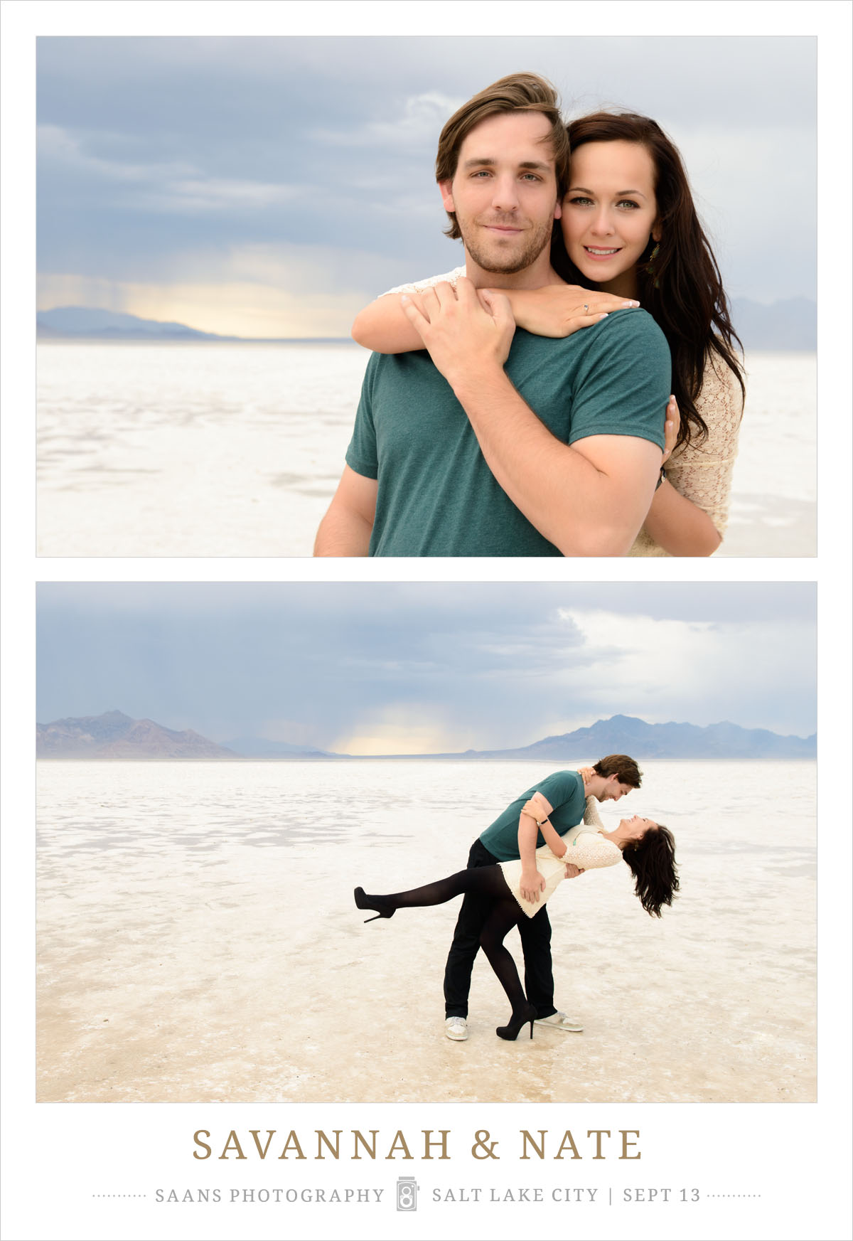 Couples Photography Session taken at the Salt Flats in Utah by Saans Photography